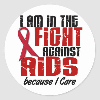 AIDS HIV In The Fight 1 I Care Classic Round Sticker