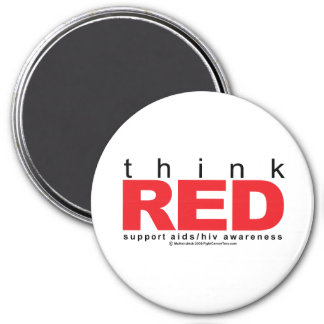 AIDS/HIV Think Red 3 Inch Round Magnet