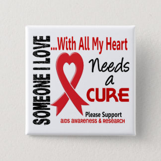 AIDS Needs A Cure 3 2 Inch Square Button