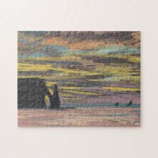 Aiguille & Porte d'Aval Etretat Sunset Monet Fine Jigsaw Puzzle