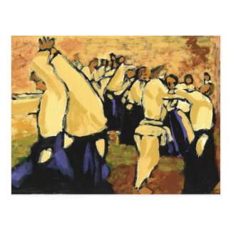 Aikido seminar ochre and black postcard