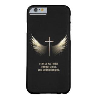 Ailes de Saint-Esprit et croix chrétienne Coque iPhone 6 Barely There