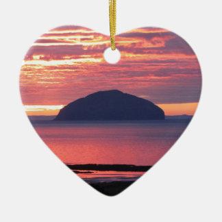 Ailsa Craig Sunset Ceramic Heart Ornament