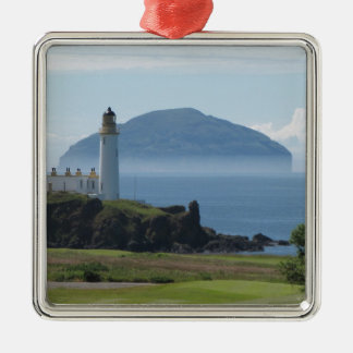 Ailsa Craig, Turnberry Lighthouse Silver-Colored Square Ornament