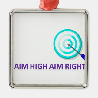 aim high aim right Silver-Colored square ornament