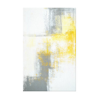 'Aim Higher' Grey and Yellow Abstract Art Canvas Print