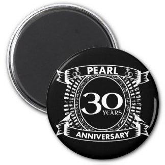 Aimant 30ème crête de perle d'anniversaire de mariage