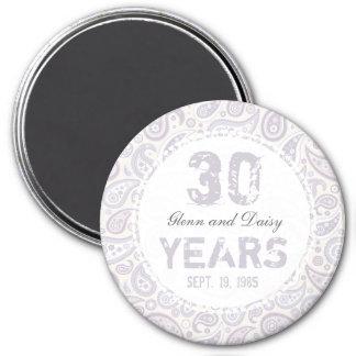 Aimant 30ème Motif de Paisley d'anniversaire de mariage
