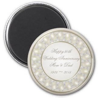 Aimant d'anniversaire de mariage de perle de satin