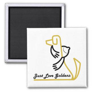 Aimant de golden retriever, carré, juste amour Gol