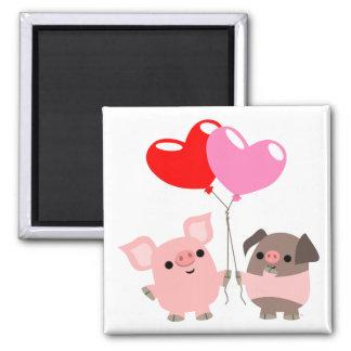 Aimant embrouillé de coeurs (porcs de bande dessin
