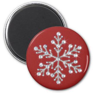 Aimant en cristal de flocon de neige (rouge)