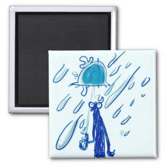 Aimant homme géant de baisses et de croquis de pluie avec
