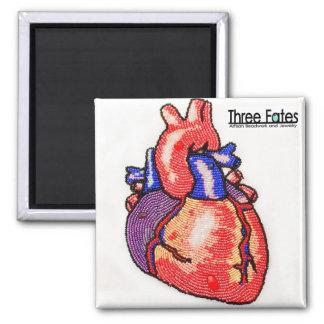 Aimant humain anatomique perlé de carré de coeur
