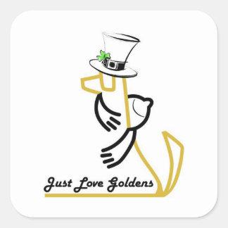 Aimant St Patrick de golden retriever Autocollants Carrés