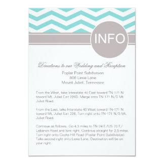 Aimee Chic Chevron Info Wedding Directions | teal Card
