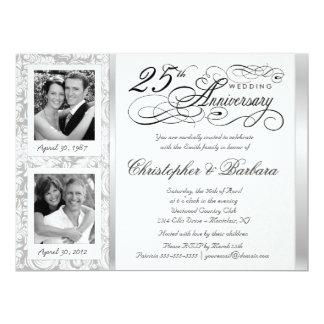 Aimez les 25èmes invitations d'anniversaire - puis carton d'invitation  16,51 cm x 22,22 cm