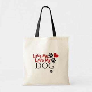 Aimez-moi, aimez mon chien (rouge) sac fourre-tout
