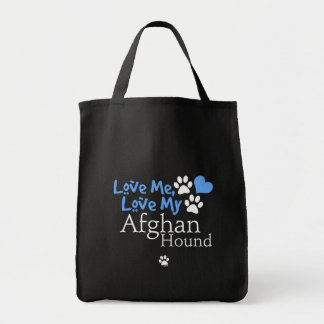Aimez-moi, aimez mon lévrier afghan sacs de toile