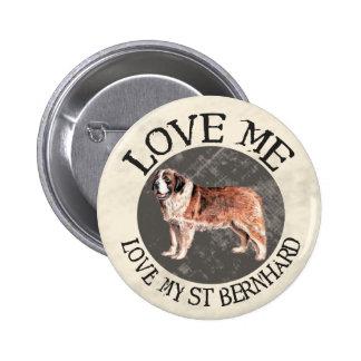 Aimez-moi, aimez mon St Bernard Macaron Rond 5 Cm