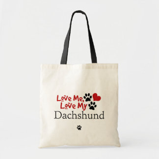 Aimez-moi, aimez mon teckel sac en toile