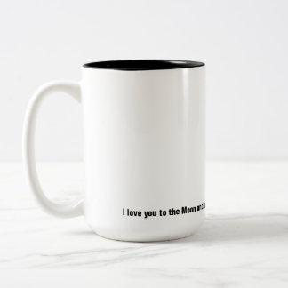 Aimez-vous à la lune et au dos mug bicolore