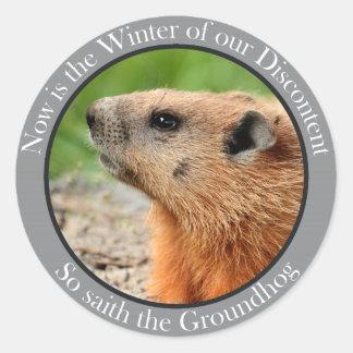 Ainsi saith le groundhog sticker rond