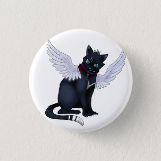 aint no angel cat badge 1 inch round button