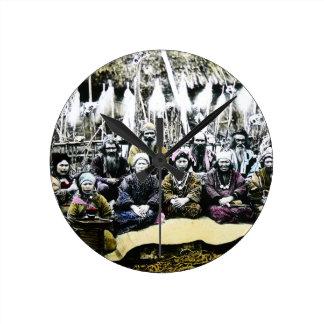 Ainu People of Northern Japan Vintage Vilage Life Clock