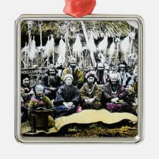 Ainu People of Northern Japan Vintage Vilage Life Silver-Colored Square Ornament