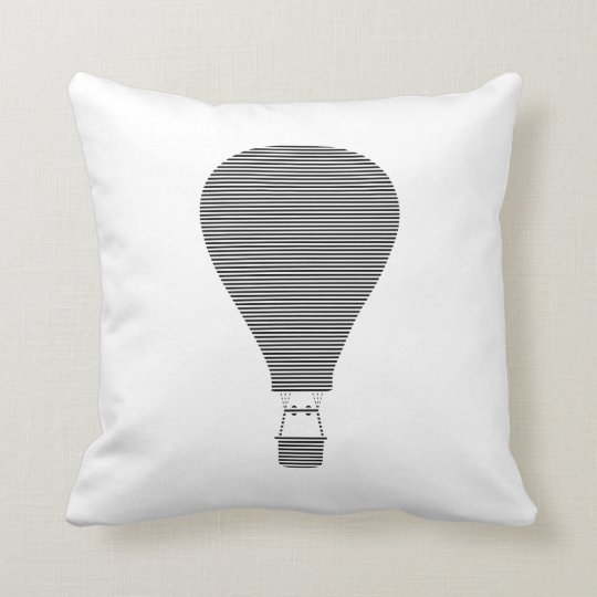 Air balloon -strips - black. throw pillow