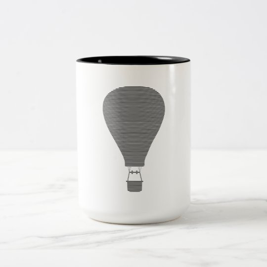 Air balloon -strips - black. Two-Tone coffee mug