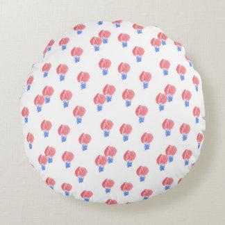Air Balloons Cotton Round Throw Pillow