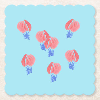 Air Balloons Scalloped Square Coaster