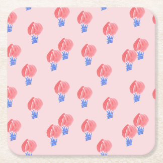 Air Balloons Square Paper Coaster
