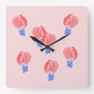 Air Balloons Square Wall Clock
