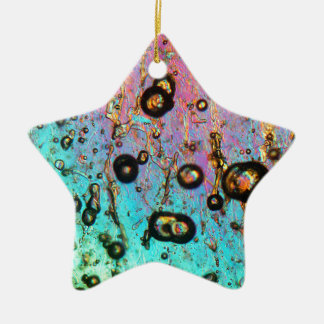 Air bubbles in ice under the microscope ceramic star ornament