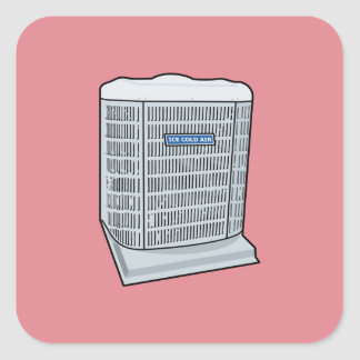 Air Conditioner Unit Ice Cold AC Heat Pump Square Sticker