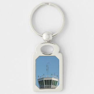 Air Control Tower Antenna Silver-Colored Rectangle Keychain