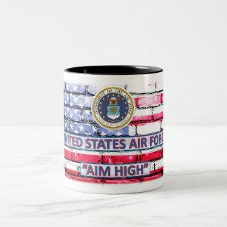 """Air Force """"Aim High"""" American Flag Coffee Cup"""