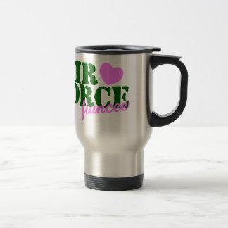Air Force Fiancee Green Pink Heart Travel Mug