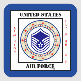 Air Force Master Sergeant MSgt E-7 Square Sticker