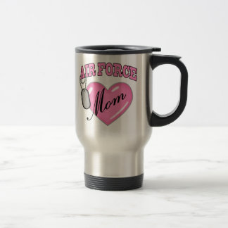 Air Force Mom Heart N Dog Tag Travel Mug