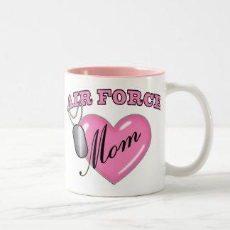Air Force Mom Heart N Dog Tag Two-Tone Coffee Mug