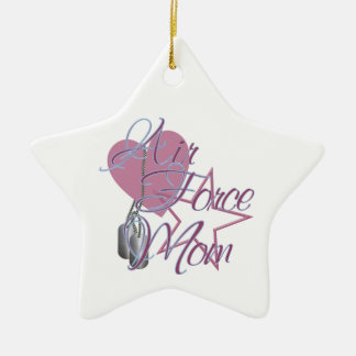 Air Force Mom Heart N Star Ceramic Ornament