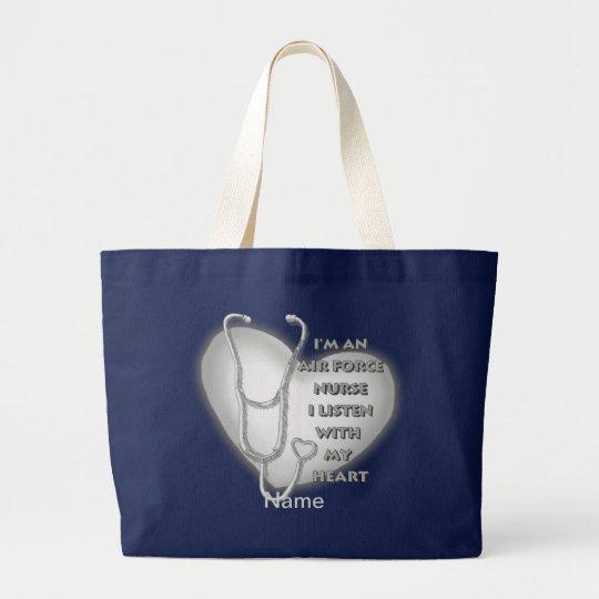 Air Force Nurse Grey Heart Large Tote Bag