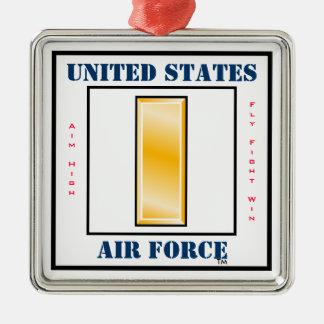 Air Force Second Lieutenant O-2 Silver-Colored Square Ornament