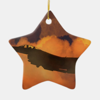 Air Plane Fighter Night Sky Moon Clouds Aircraft Ceramic Ornament