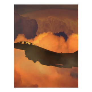 Air Plane Fighter Night Sky Moon Clouds Aircraft Letterhead