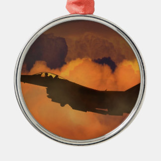 Air Plane Fighter Night Sky Moon Clouds Aircraft Metal Ornament